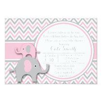 Elephant Baby Shower Invitations, Pink and Gray Invitation
