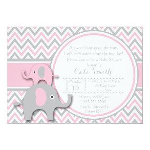 Pink elephant baby shower invitations zazzle elephant baby shower invitations pink and gray invitation filmwisefo