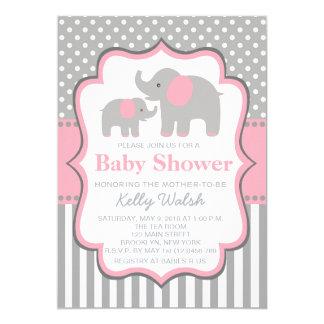 Elephant Baby Shower Invitations Polka Dots
