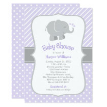 Elephant Baby Shower Invitations | Purple and Gray