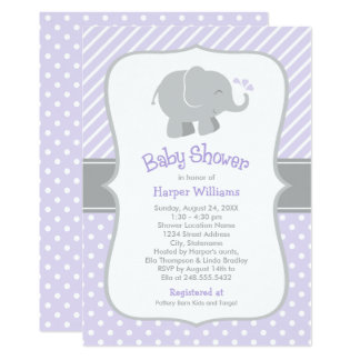 Elephant Baby Shower Invitations | Purple and Gray