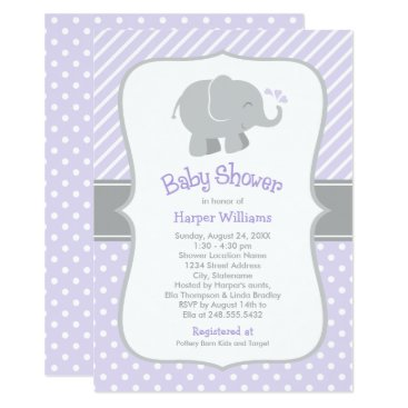 Toddler & Baby themed Elephant Baby Shower Invitations   Purple and Gray