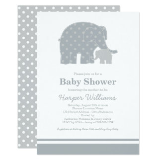 elephant baby shower invitations silver u0026 gray