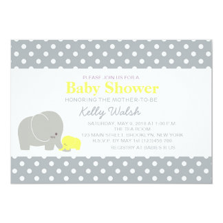 "Elephant Baby Shower Invitations Yellow and Gray 5"" X 7"" Invitation Card"