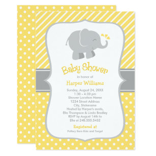 Elephant yellow gray baby shower invitations zazzle elephant baby shower invitations yellow and gray filmwisefo