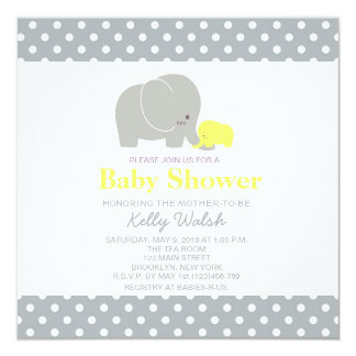 "Elephant Baby Shower Invitations Yellow and Gray 5.25"" Square Invitation Card"