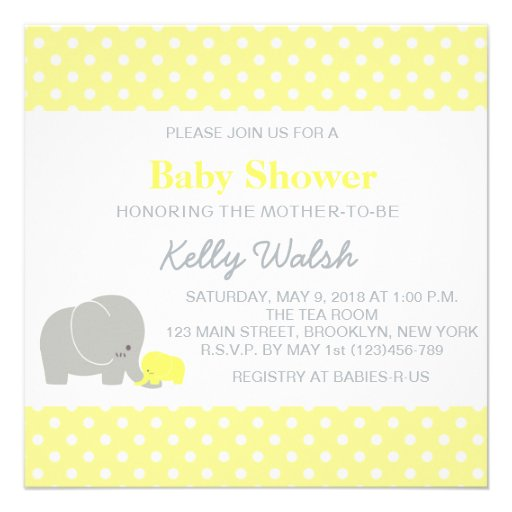 elephant baby shower invitations yellow and gray zazzle