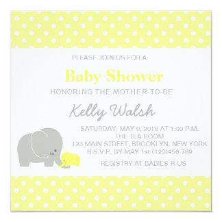 elephant baby shower yellow gray invitations  announcements  zazzle, Baby shower invitations