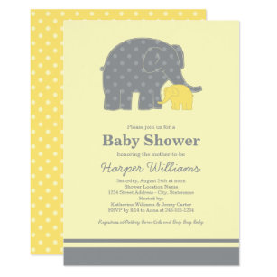 Elephant yellow gray baby shower invitations announcements zazzle elephant baby shower invitations yellow gray filmwisefo