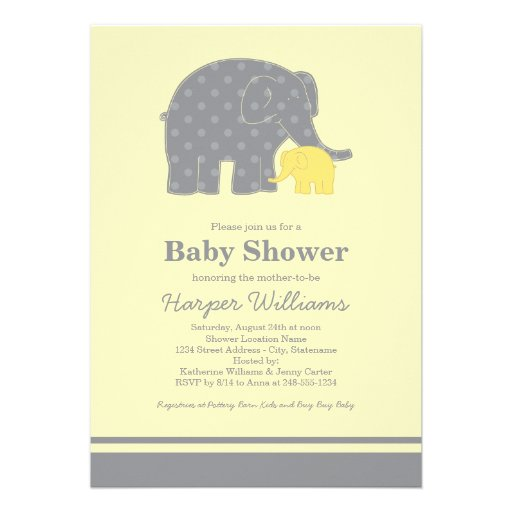 elephant baby shower invitations yellow gray 5 x 7 invita