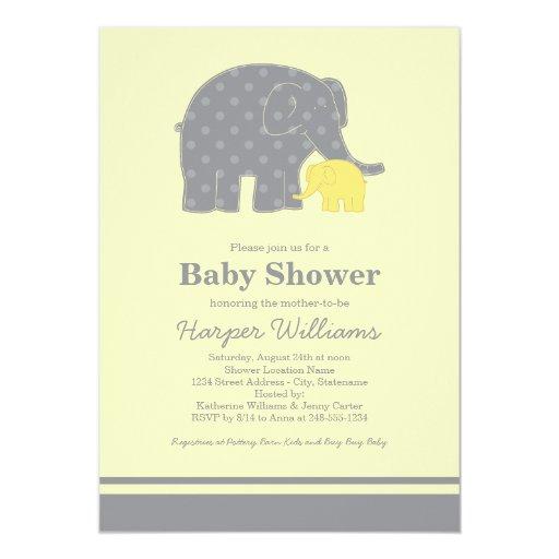 elephant baby shower invitations yellow gray zazzle