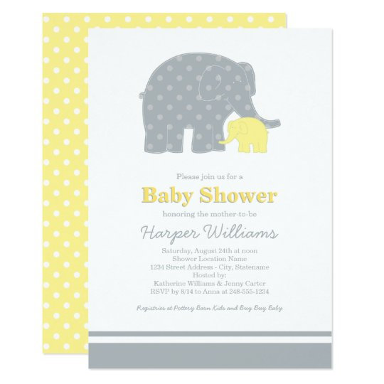 Elephant baby shower invitations yellow gray zazzle elephant baby shower invitations yellow gray filmwisefo