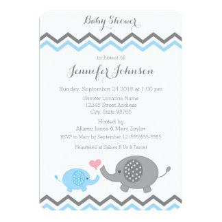 "Elephant Baby Shower Invite | Blue Gray Chevron 5"" X 7"" Invitation Card"