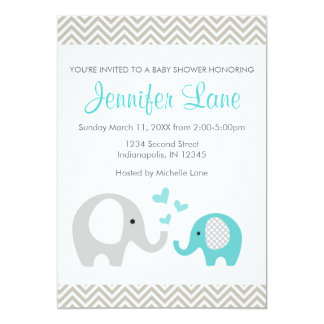 Elephant Baby Shower Invite Boy