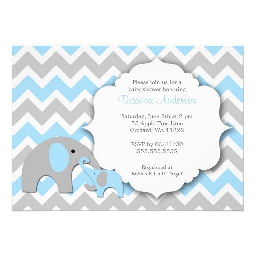 elephant baby shower invite chevron blue gray 5 x 7 invitation