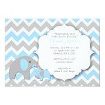 Elephant Baby Shower Invite / Chevron blue gray