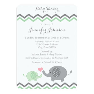 Elephant Baby Shower Invite | Green Gray Chevron