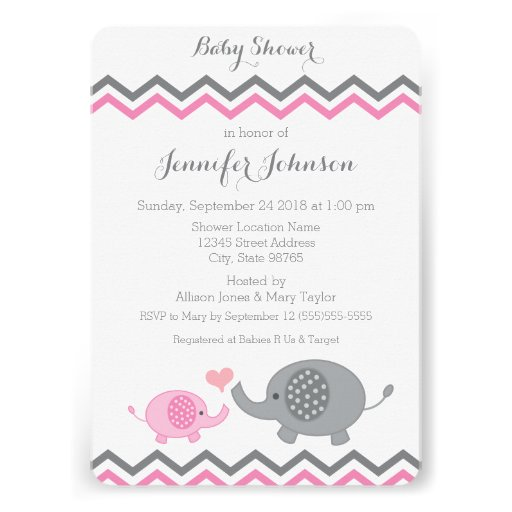 elephant baby shower invite pink gray chevron zazzle