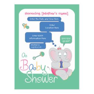 Elephant Baby Shower Invite Postcard