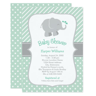 elephant baby shower mint green and gray card