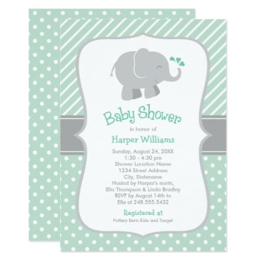Toddler & Baby themed Elephant Baby Shower | Mint Green and Gray Card
