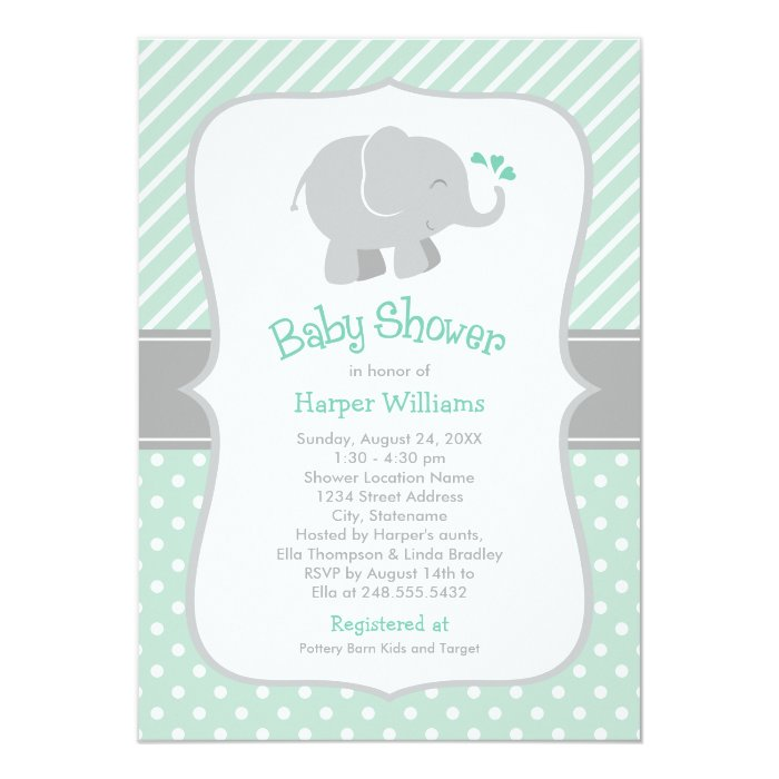 elephant baby shower mint green and gray card zazzle