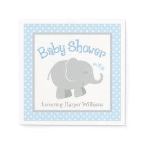 Elephant Baby Shower Napkins | Blue and Gray
