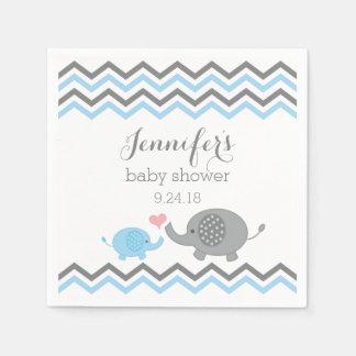 Elephant Baby Shower Napkins Blue Gray Chevron Paper Napkin