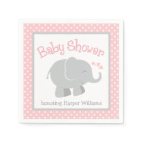 Elephant Baby Shower Napkins | Blush Pink and Gray