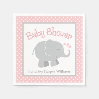 Elephant Baby Shower Napkins | Blush Pink and Gray Standard Cocktail Napkin