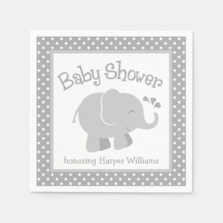 Elephant Baby Shower Napkins | Gray and White