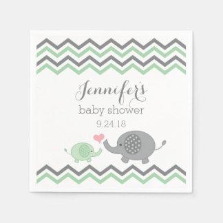 Elephant Baby Shower Napkins Green Gray Chevron