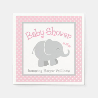 Elephant Baby Shower Napkins | Pink and Gray