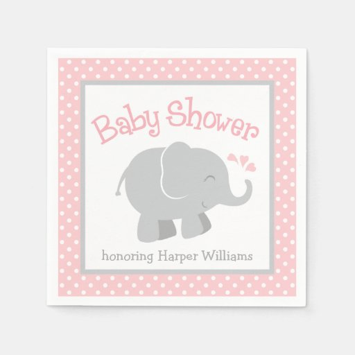 elephant baby shower napkins blush pink and gray standard cocktail