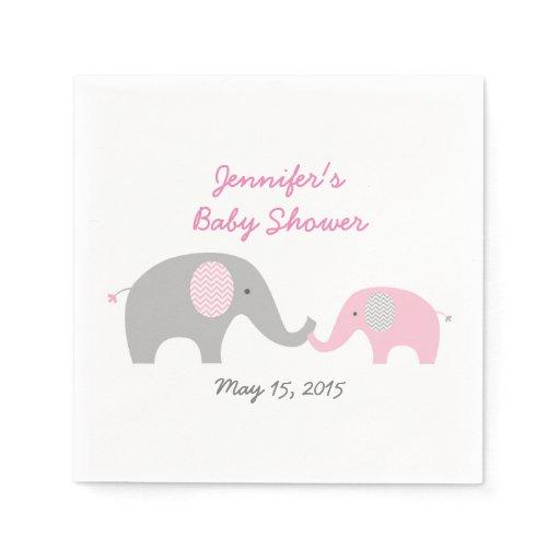 Elephant Baby Shower Napkins Pink & Grey