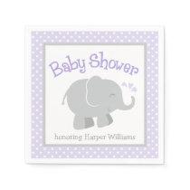 Elephant Baby Shower Napkins | Purple and Gray