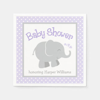 Elephant Baby Shower Napkins | Purple and Gray Disposable Napkins