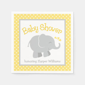 Elephant Baby Shower Napkins   Yellow and Gray