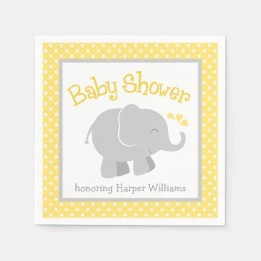 Toddler & Baby themed Elephant Baby Shower Napkins | Yellow and Gray