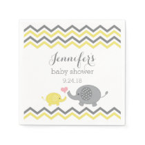 Elephant Baby Shower Napkins Yellow Gray Chevron