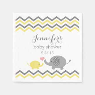 Elephant Baby Shower Napkins Yellow Gray Chevron
