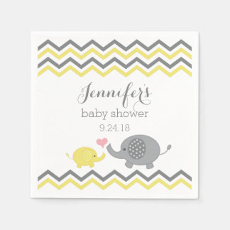 Elephant Baby Shower Napkins Yellow Gray Chevron Standard Cocktail Napkin