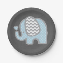 Elephant Baby Shower Paper Plates for Boy