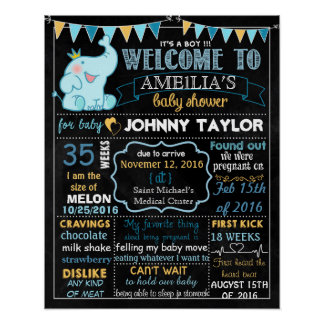Elephant Baby Shower Party chalkboard sign Boy