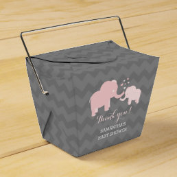 Elephant Baby Shower Pink and Grey Favor Box