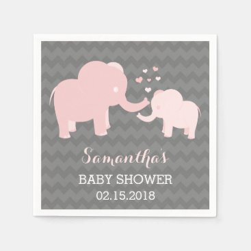 Toddler & Baby themed Elephant Baby Shower Pink and Grey Paper Napkins