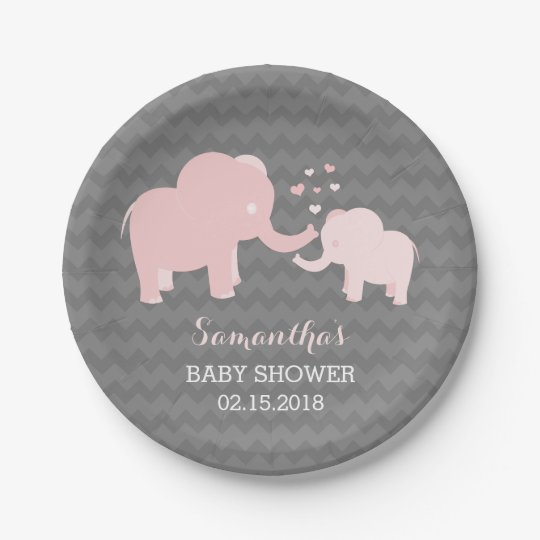 Elephant Baby Shower Pink and Grey Paper Plates  sc 1 st  Zazzle & Elephant Baby Shower Pink and Grey Paper Plates | Zazzle.com