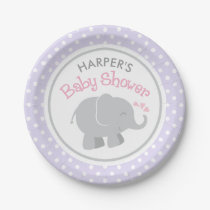 Elephant Baby Shower | Pink and Purple Paper Plate