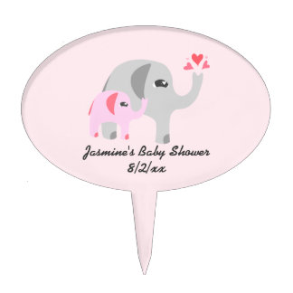 Elephant Baby Shower Pink and White Cake Topper