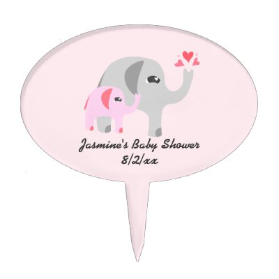 Pink And Gray Elephant Baby Shower Cake Topper | Zazzle.com